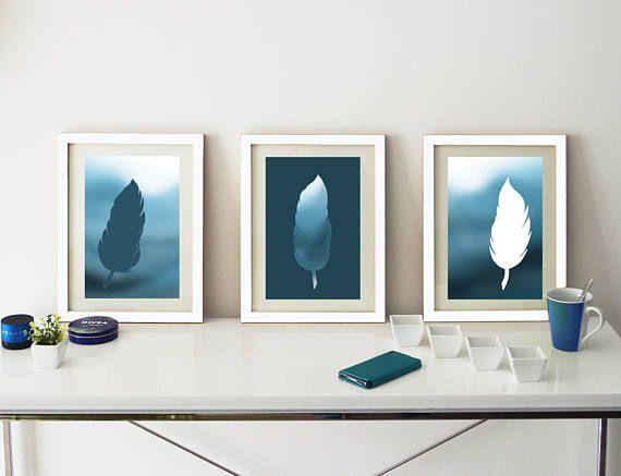 3 affiches plumes sur fond dégradé de bleus, pour salon, séjour, tendance plume