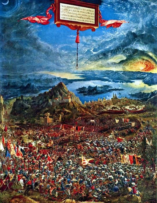 Battle of Issus (Alexanderschlacht) is a 1529 oil painting by Albrecht Altdorfer. It portrays the 333 BC Battle of Issus, in which Alexander the Great secured a decisive victory over Darius III of Persia and gained crucial leverage in his campaign against the Persian Empire. The painting is widely regarded as Altdorfer's masterpiece, and exemplifies his affinity for scenes of monumental grandeur. #issus #battle #reproduction