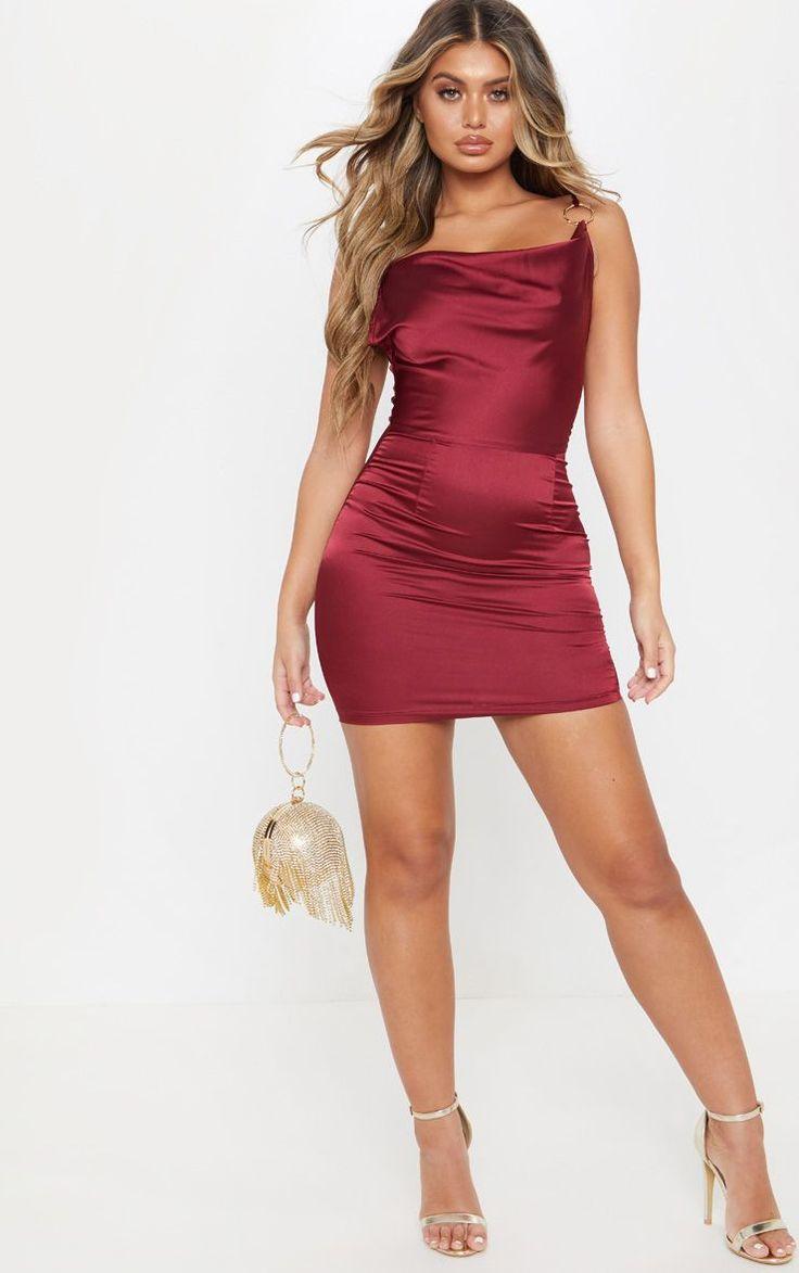 Burgundy Satin Cowl Neck Ring Detail Bodycon Dress