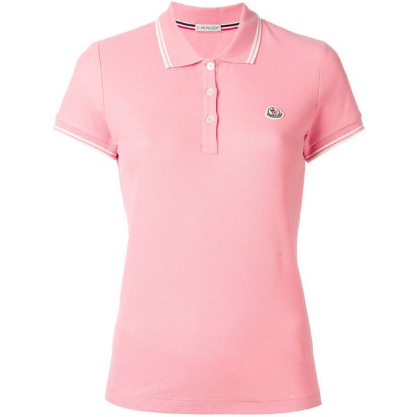 Moncler short sleeve polo shirt (€170) ❤ liked on Polyvore featuring tops, pink, short sleeve tops, moncler, pink top, red polo shirt and moncler top