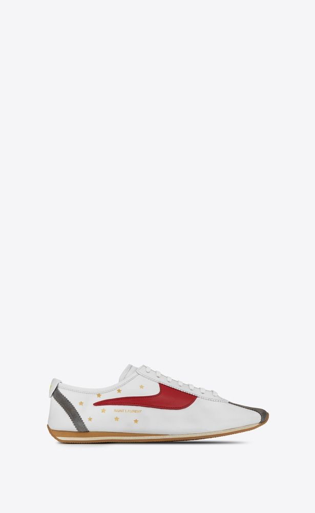 bc8ff45ac3c7c SAINT LAURENT Sneakers Woman JAY low-cut sneaker in white and red leather  a V4