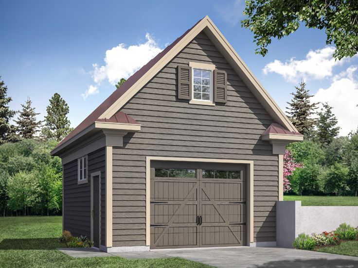 051g 0126 Traditional 1 Car Garage Plan In 2020 Garage Door Styles Single Garage Door White Exterior Houses