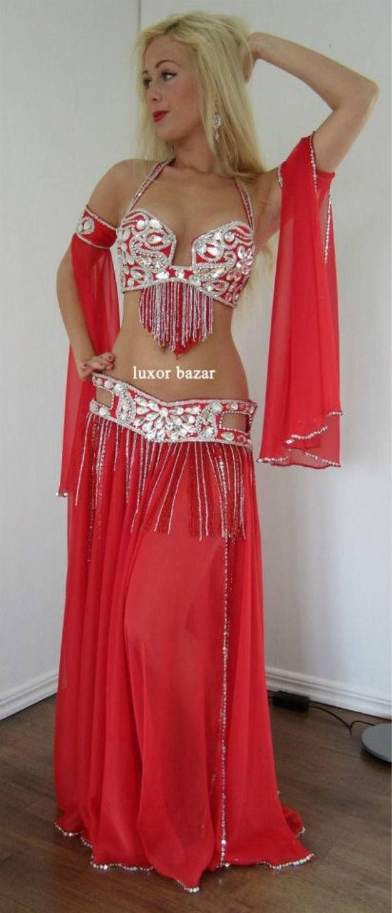 LUXOR BAZAR Designs Professional Belly Dance Costume Custom Made Exclusive Luxor Bazars New Model Double Layer Chiffon Skirt You Can Select The fabric Color You Can Select The Decoration Beads Colors The costume includes (bra , belt and wide Double Layer chiffon skirt attached to