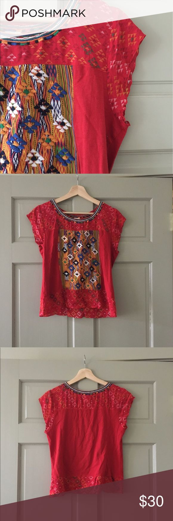Aztec blouse Gorgeous cotton and rayon top with beautiful embroidery. Size medium but fits like a smaller medium 😊 Anthropologie Tops Blouses