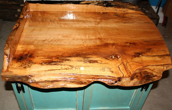 Book matched live edge maple countertop with epoxy finish for Finishing live edge wood