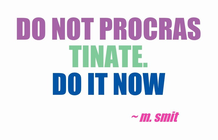 Do not procrastinate. Do it NOW M.Smit This quote courtesy of @Pinstamatic (http://pinstamatic.com)