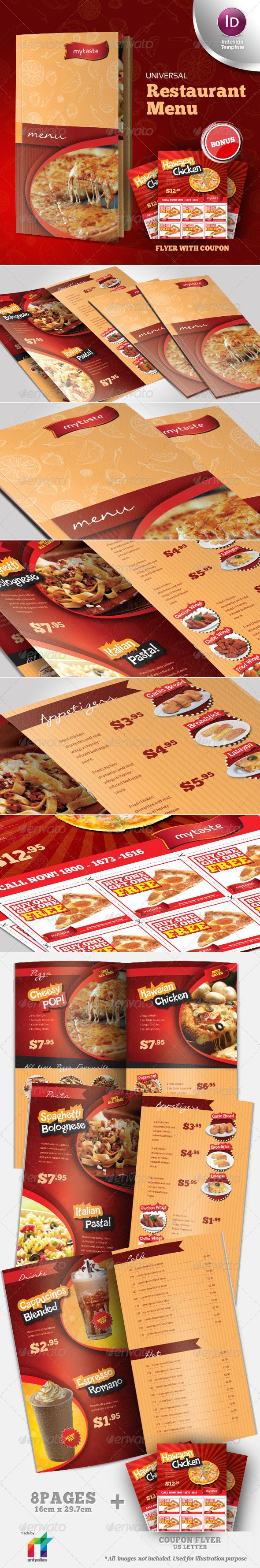 Universal Restaurant Menu Indesign Template Pizza fast food hamburguesería flyer…