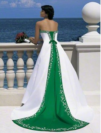 Perfect gown if you're Irish -- or getting married on St. Patty's Day weekend!   #AlfredAngelo Dream in Color Style 1516 in #Shamrock