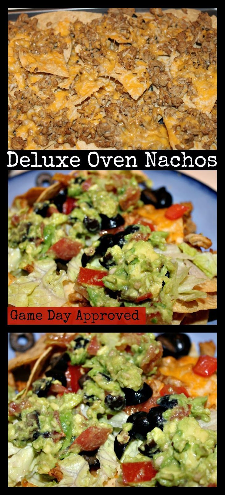 Game Day Deluxe Oven Nachos Homemade Nachos perfect for Super Bowl Party or Nacho Bar Simple, easy, fast, delicious, food blogger recipe Healthier Nachos