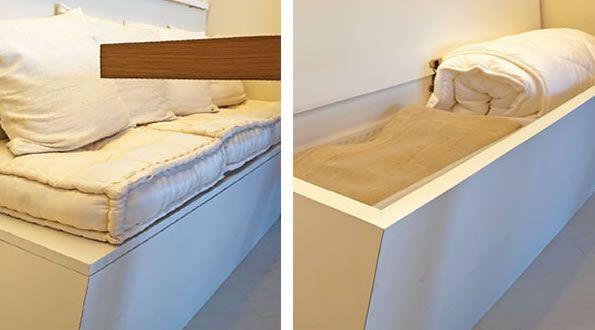 O banco da sala de jantar também é um baú de MDF branco (1,50 x 0,50 x 0,40 m). Superprático para guardar o enxoval! Espaço versátil A mesa de jantar e o banco parecem fi xos, mas, como a sala de jantar está bem no meio do apartamento, as duas peças são soltas e podem ser retiradas, em caso de uma reunião com mais convidados