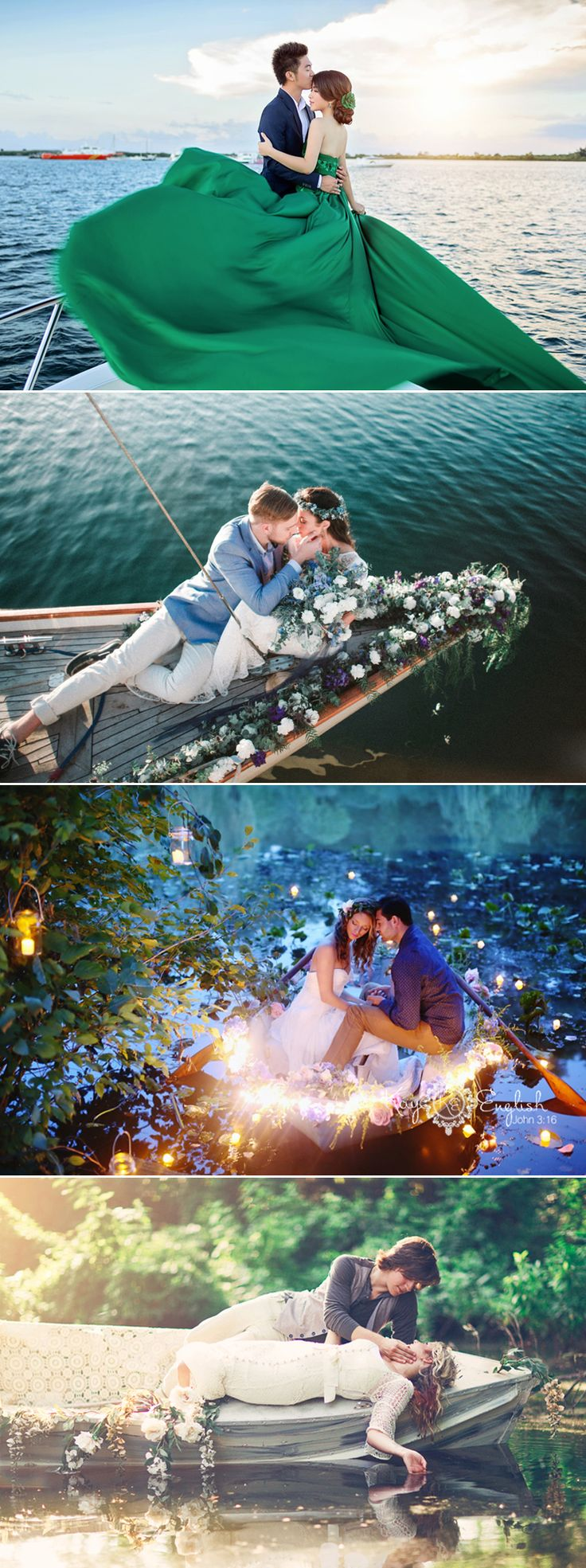 """We hear the term """"love boat"""" all the time, but never imagined how romantic it is to actually have your engagement photos taken on a boat! There is something so peaceful and magical about today's collection of engagement photos. These couples are totally in their own little worlds filled with love and joy, and perhaps …"""