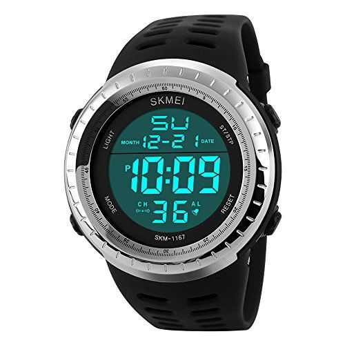 sunjas resistente al agua Digital LED Alarma Calendario reloj reloj deportivo Hombre Mujer Reloj De Pulsera, negro