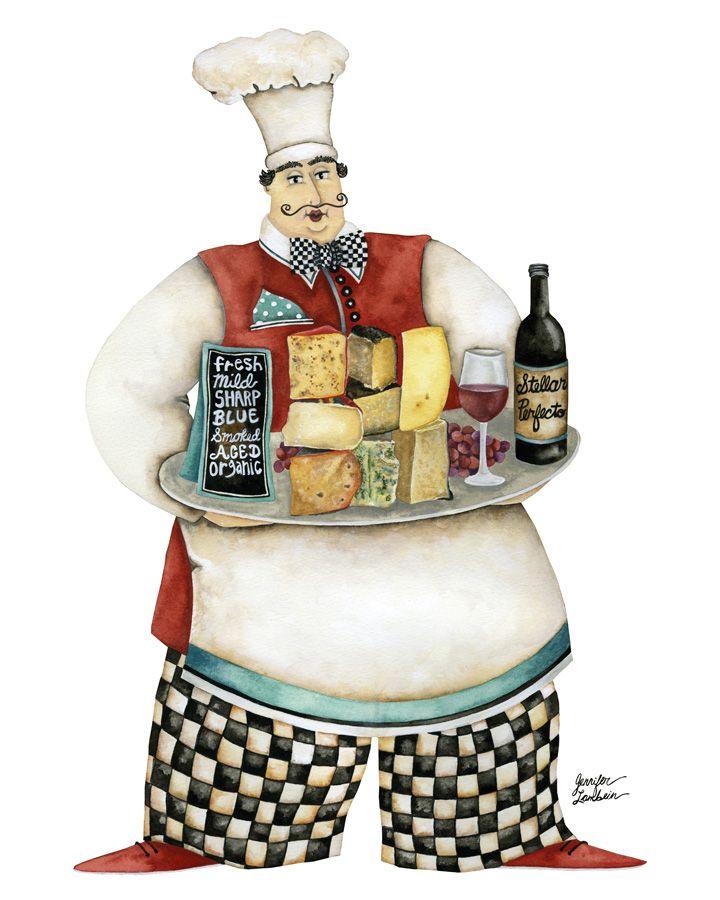 Wine And Cheese Chef. Artwork by Jennifer Lambein.