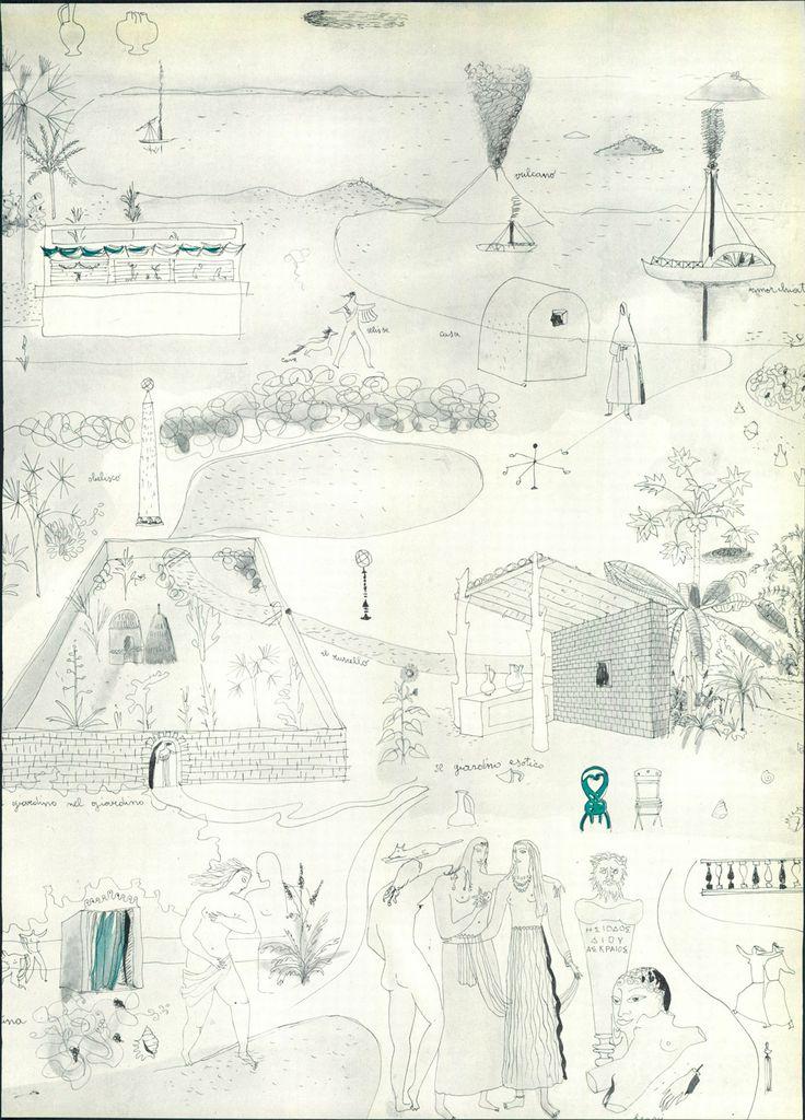 Concept drawing for 'Casa al Mare' by Lina Bo Bardi, 1947.