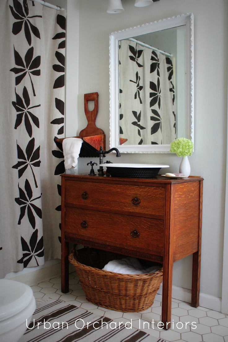 Like Old Dresser Converted Into Bath Vanity Cottage Bath