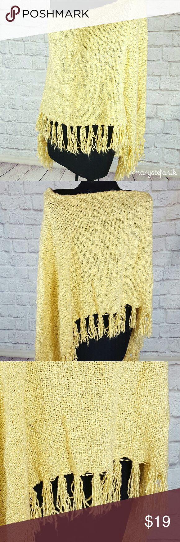 """Mustard Yellow Fringed Sweater Cape Poncho Mustard Yellow Fringed Sweater Cape Poncho in excellent used condition. No tag. Soft and warm. Neck is 18"""" from seam to seam. Length is about 24"""".  Please let me know if you have any questions. Happy Poshing! Mary Stefanik  Sweaters Shrugs & Ponchos"""