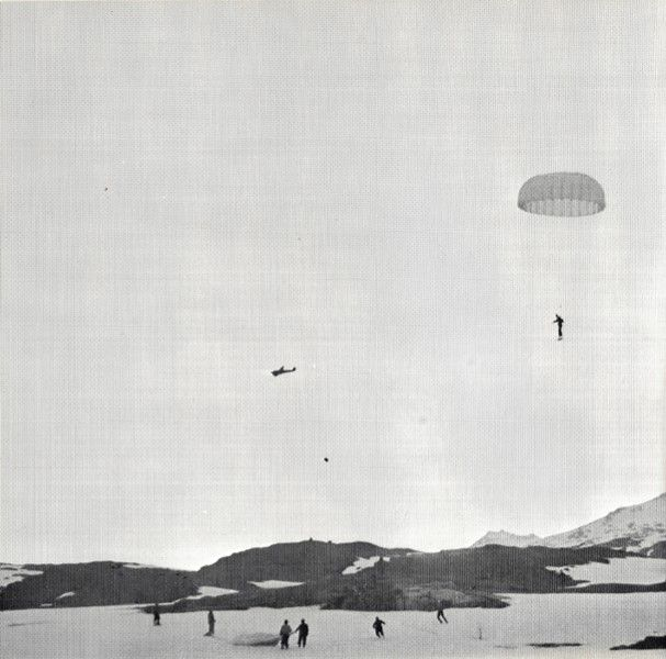 German paratroopers being dropped over Narvik during the invasion of Norway.