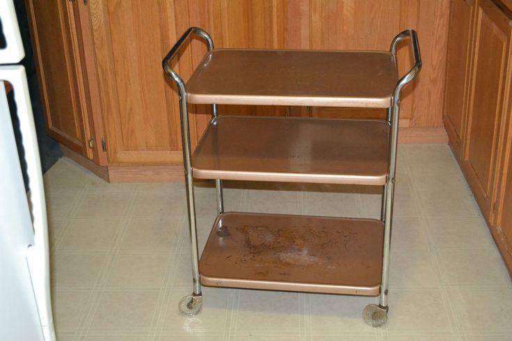 Vintage Metal 3 Tier Rolling Kitchen Utility Cart Midcentury Modern Tea Bar Cart #cosco