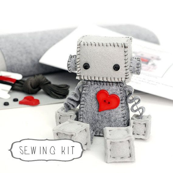 DIY Felt Robot Kit, Make Your Own Robot Plush with a Big Red Heart Pattern