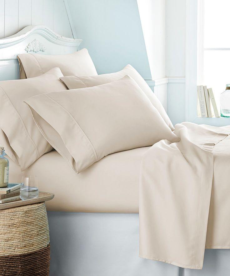 This Cream Becky Cameron Six-Piece Sheet Set by iEnjoy Bedding is perfect! #zulilyfinds