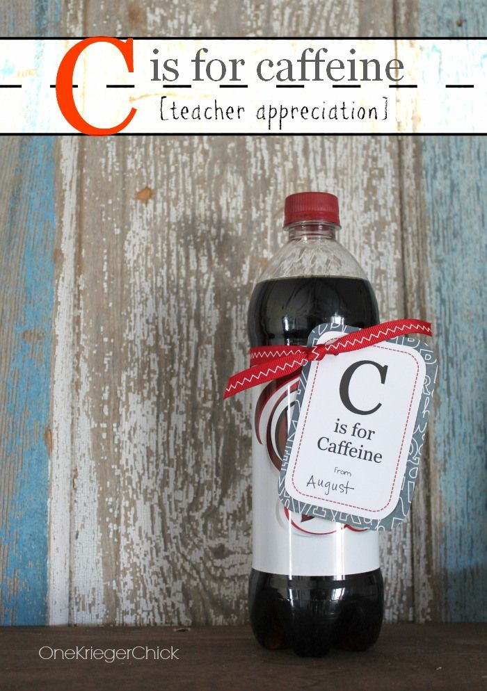 C is for Caffeine - AWESOME creative teacher gift! They soo need this!