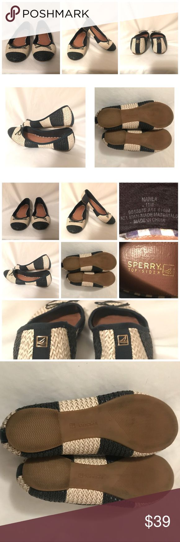 🎃👻 SALE Sperry Top-Sider Ballet Flats Woven Sperry Women's Top-Sider Nahla Ballet Flats Woven Striped Navy Blue Size 11M Sperry Shoes Flats & Loafers