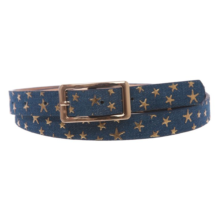 Women's Skinny Gold Star Embossed Fashion Jean Belt