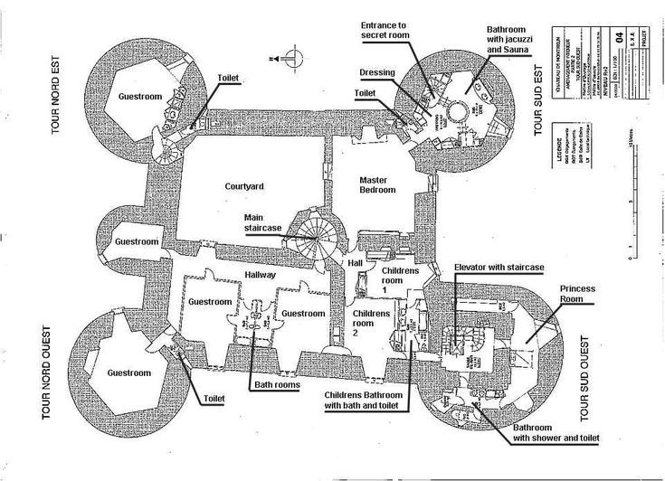 Ch teau de montbrun plan du second tage castles for Castle blueprints and plans