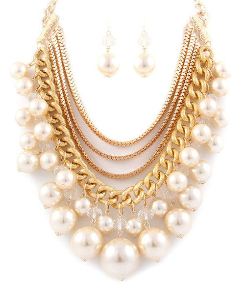 Chunky Pearls and Chains Layered Statement Necklace Earrings Set (Cream) - $34