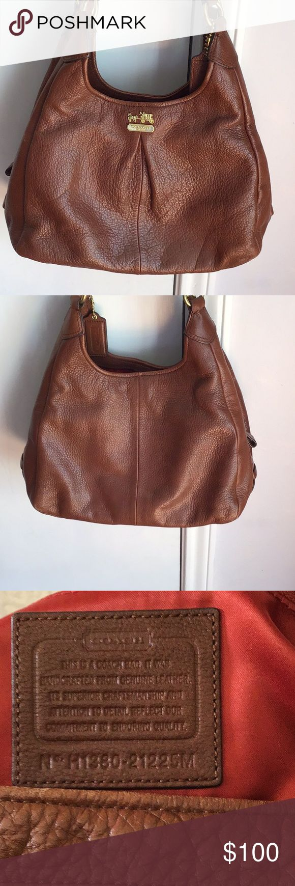 """Authentic Coach Bag (Rich Dark Tan Color) Lots of wonderful features with two extra compartments on each side of main compartment. Zipper closure in center and magnetic closure on two side compartments.  In great condition. Gently used.  Measures 14"""" wide by 12"""" height. Coach Bags"""