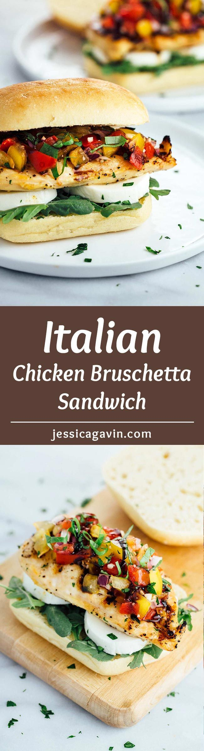 Grilled Chicken Bruschetta Sandwich - An overwhelming crowd-pleasing Italian recipe topped with fresh ripen tomatoes and a sweet and tangy balsamic glaze. | jessicagavin.com