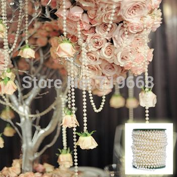 NEW ARRIVAL IN STOCK!25Meters 6mm Pearl Beaded Garland Strands for Wedding Decoration Table Centerpieces Chandelier on Aliexpress.com | Alibaba Group