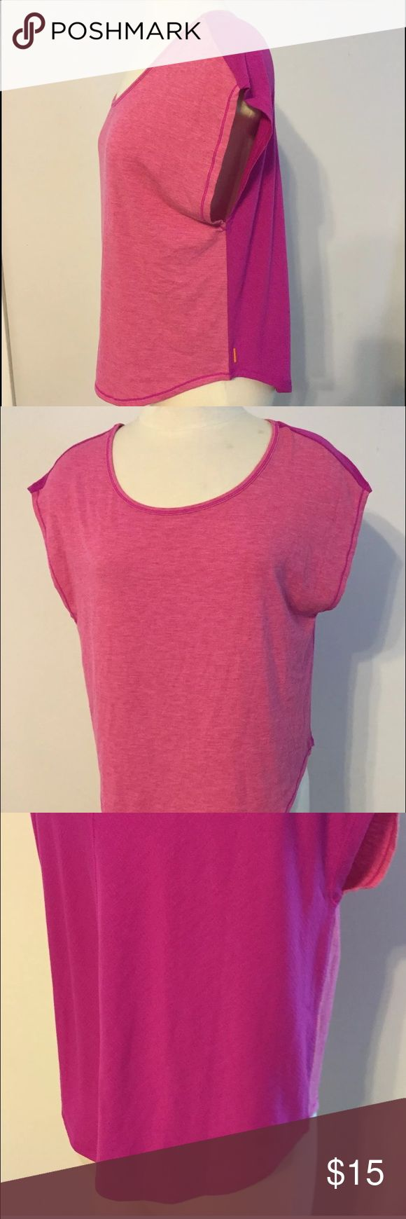 """Lucy Athletic Perfectly Posed Top Lucy Athletic Wear Perfectly Posed Top Neonberry Pink Heather Size XS Fitness Size XS top Pink heather front with deep pink back Short sleeves Center seam in back Loose fit Longer in back than front Style # 112218 Chest (measured from underarm to underarm): about 22"""" Length (measured from shoulder to bottom back): about 26"""" Lucy Tops Tees - Short Sleeve"""