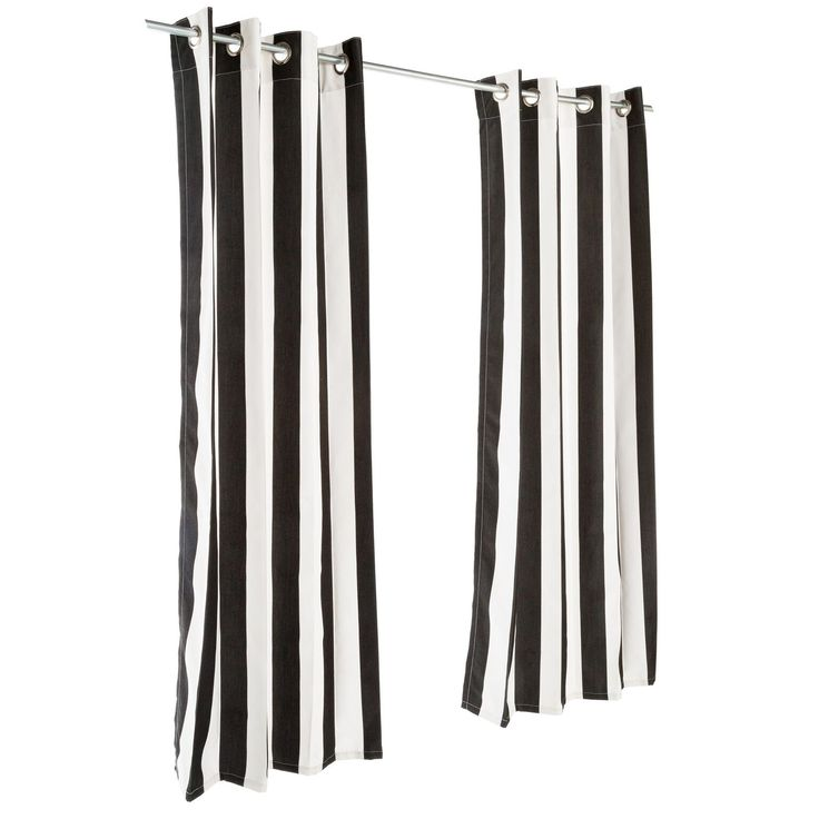 Cabana Black Sunbrella Outdoor Curtain Panels W/ Grommet Top