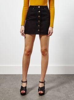 Black Button Through Denim Mini Skirt