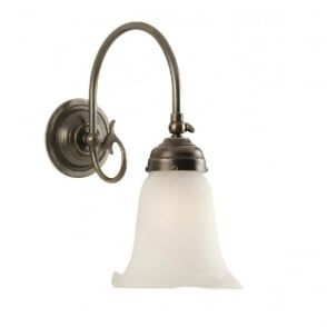 FREDA single aged brass Victorian wall light with white lily glass shade