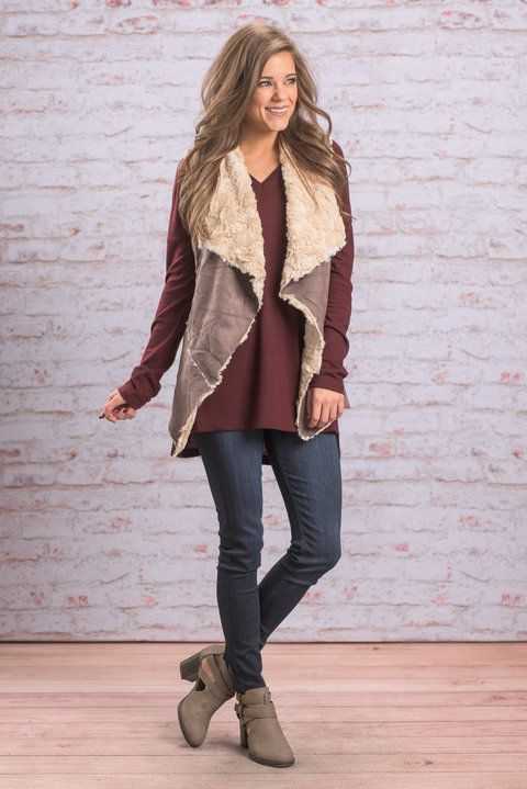 """Fur It's Cold In Here Vest, Gray"" Stop what you are doing! Your fave vest is back! It may be cold but in this fur vest it's mighty toasty!! Check out the patchwork faux suede and fur lining!! #newarrivals #shopthemint"