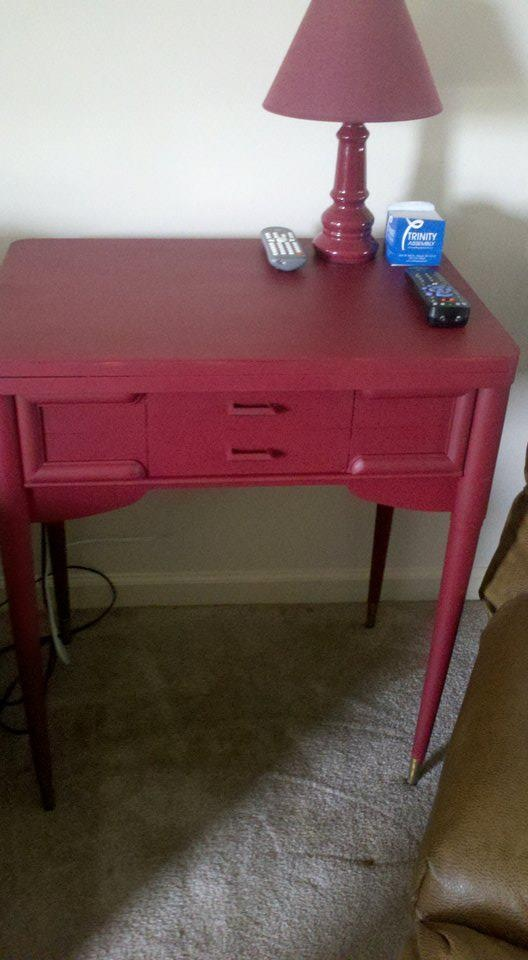 Old Sewing Machine Cabinet, Painted And Used As An End Table