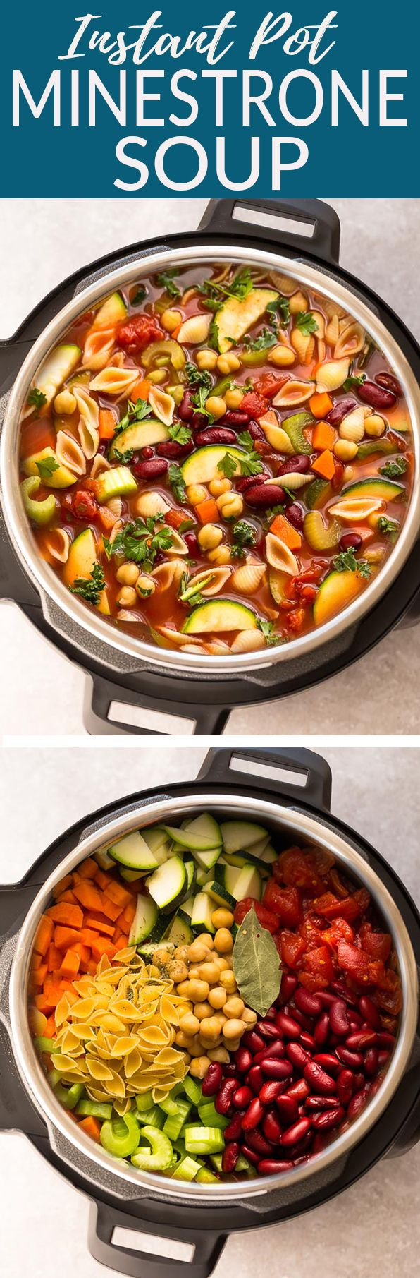 Instant Pot Homemade Minestrone Soup makes the perfect easy comforting meal. Best of all, it's an easy set and forget pressure cooker recipe and is so much healthier and better than Olive Garden's version! Made entirely in your slow cooker or the stovetop and SO delicious! #minestronesoup #soup #minestrone #vegetables #vegetarian #heart #comfortfood #soup #olivegarden #copycat #olivegardencopycat #instantpot #pressurecooker
