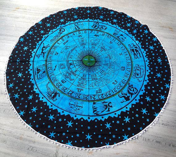 Turquoise blue Astrology Round beach throw, Table cover ,Bed throw ,yoga mat ,round beach towel ,hippie,mandala roundie ,round by Sparshh on Etsy