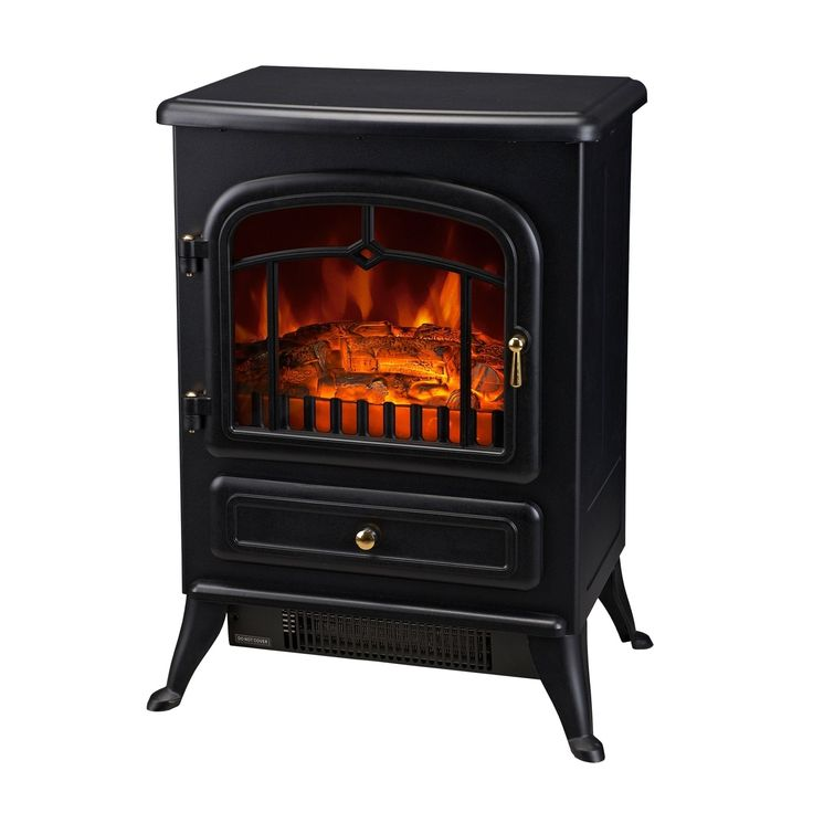 Electric Fireplace Freestanding Part - 28: HomCom 161500W Free Standing Electric Fireplace - Black (metal, Glass)