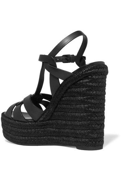 Saint Laurent - Tribute Leather Espadrille Wedge Sandals - Black - IT38