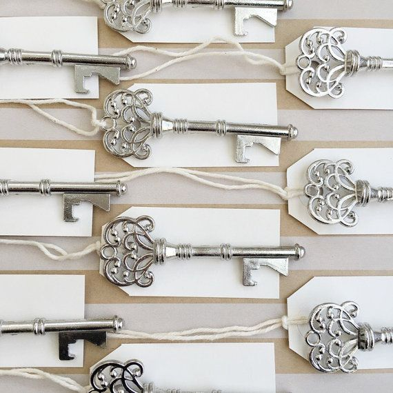 These skeleton bottle openers are perfect and practical wedding favors and add a beautiful vintage feel to your wedding or special event! Guests will love these sturdy and durable openers and will be able to take them home on their key rings! These can also be used as beautiful escort cards or unique place setting cards.  Use these as unique place setting or escort cards which double as practical wedding favors! ✲✲✲✲✲✲✲✲✲✲✲✲✲✲✲✲✲✲✲✲✲✲✲✲✲✲✲✲✲✲✲✲✲✲✲  This listing includes: * 100 silver color…