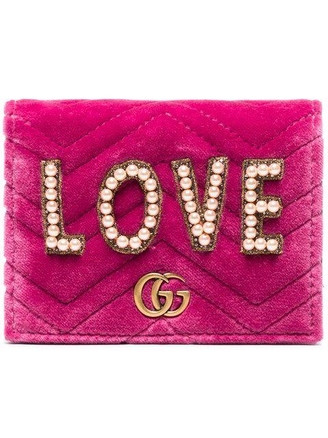 Shop Gucci Pink GG Marmont Embellished Small Velvet Wallet