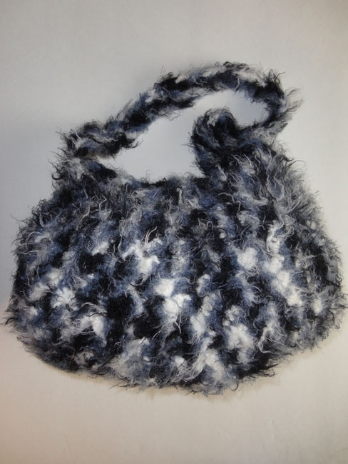 Hand made black and white Fluffy Fur Purse.  www.epicmart.ca