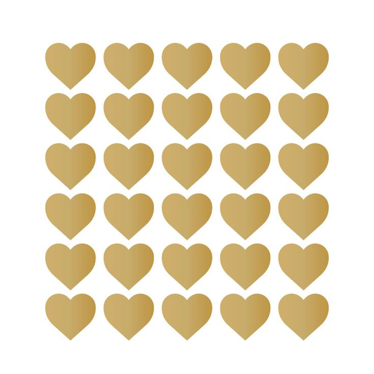 """This pack of Hearts comes with 150 Metallic Gold hearts. Dimensions: each star 1"""" diameter No returns or refunds will be accepted/ given for final sale items."""