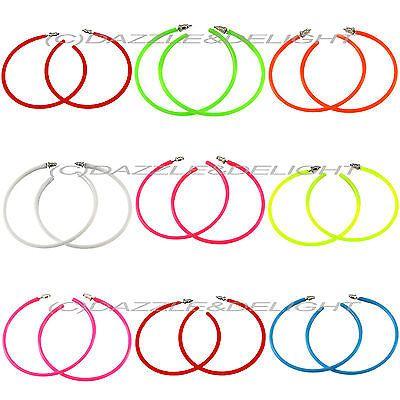 Neon hoop earrings 80's earrings 1980s #fancy #dress earrings costume #rocker rav, View more on the LINK: http://www.zeppy.io/product/gb/2/121960425154/