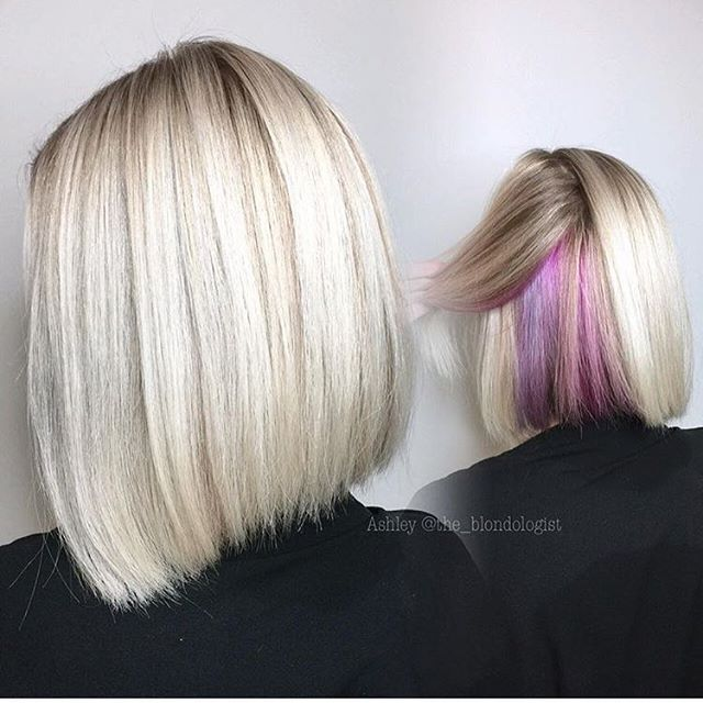 Hidden pink and lilac hits! Color by @the_blondologist hair hairenvy  hairstyles