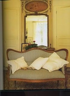 ticking stripe settee, fun idea for reupholstering the breakfast nook settee.