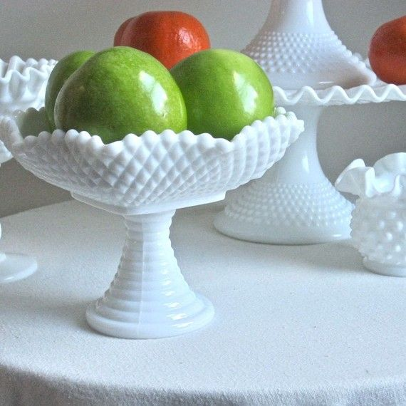 Small Milk Glass Compote or Footed Bowl by by BarkingSandsVintage